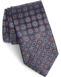 Canali Floral Medallion Silk Tie - Blue