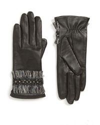 Badgley Mischka - Badgley Mischka Fringe Cuff Leather Touchscreen Gloves - Lyst