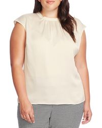 Vince Camuto Cap Sleeve Satin Top - White