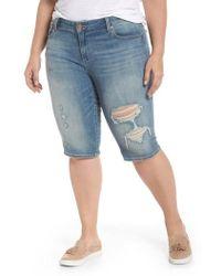 Lucky Brand - Ginger Ripped Denim Bermuda Shorts - Lyst