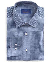 David Donahue - Regular Fit Geometric Dress Shirt - Lyst