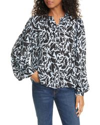 Veronica Beard Ashlynn Graphic Silk Blend Blouse - Multicolor