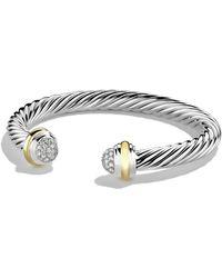 David Yurman Cable Classics Bracelet With Diamonds And Gold - Metallic