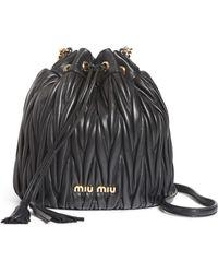 Miu Miu - Small Matelasse Leather Bucket Bag - - Lyst