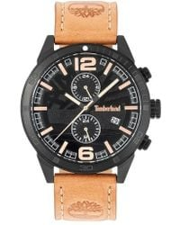 Timberland | Sagamore Multifunction Leather Strap Watch | Lyst
