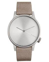Komono Winston Deco Leather Strap Watch, 41mm - Metallic