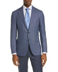 Canali Kei Trim Fit Check Silk & Wool Sport Coat - Blue