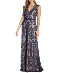 Tadashi Shoji Petite Size Corded Lace V-neck Sleeveless Long Gown - Blue