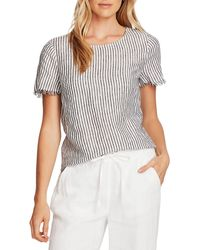 Vince Camuto Frayed Edge Striped Top - Black