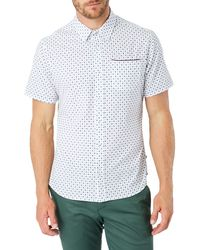 7 Diamonds Another Dimension Slim Fit Short Sleeve Button-up Shirt - White