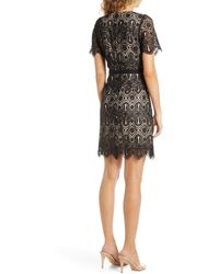Chelsea28 Embroidered Lace A-line Dress - Black