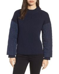 Kenneth Cole - Quilted Sleeve Sweater - Lyst