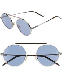 Fendi - 54mm Round Sunglasses - Ruthenium/whte - Lyst