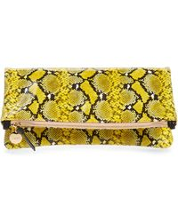 Clare V. Snakeskin Print Leather Foldover Clutch - Yellow