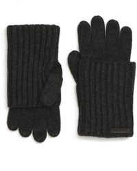 AllSaints Ribbed Cuff Convertible Gloves - Black