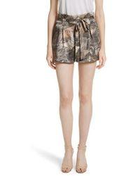 L'Agence - Alex Palm Print Silk Paperbag Shorts - Lyst