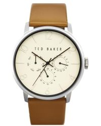Ted Baker | Multifunction Leather Strap Watch | Lyst