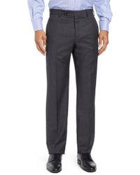 Zanella - Devon Flat Front Solid Wool Trousers - Lyst