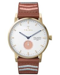 Triwa - Coral Falken Embroidered Leather Strap Watch - Lyst