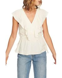 1.STATE - V-neck Ruffle Edge Top - Lyst