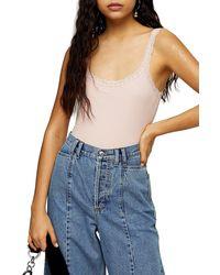TOPSHOP Lace Trim Bodysuit - Pink