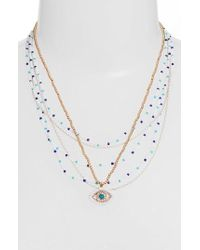 Rebecca Minkoff - Layered Beads Evil Eye Necklace - Lyst