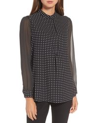 Anne Klein Mixed Dot Print Blouse - Black