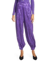 Ronny Kobo Kristine Floral Jacquard Silk Blend Pants - Purple