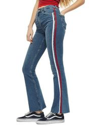 TOPSHOP - Moto Jamie Side Stripe Flared Jeans - Lyst