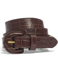 Madewell Wrapped-buckle Belt In Croc Embossed Leather - Brown