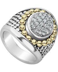 Lagos - Signature Caviar & Pave Diamond Ring - Lyst