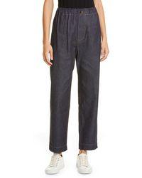 Sofie D'Hoore Wide Leg Raw Denim Crop Jeans - Blue