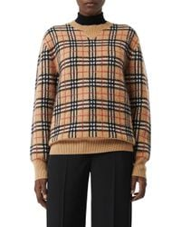 a4524bfe0d3e54 Lyst - Burberry Banbury Check Knitted Jumper in Brown