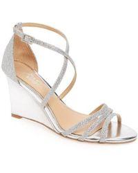 Badgley Mischka - Hunt Glittery Wedge Sandal - Lyst