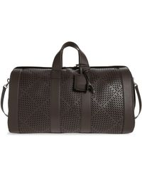 Bottega Veneta Perforated Leather Duffle Bag - Black