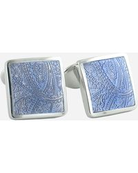 David Donahue Sterling Silver Cuff Links - Blue