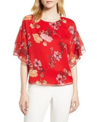 Vince Camuto - Tiered Ruffle Sleeve Garden Floral Top - Lyst