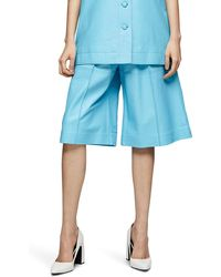 TOPSHOP Leather Bermuda Shorts By Boutique - Blue