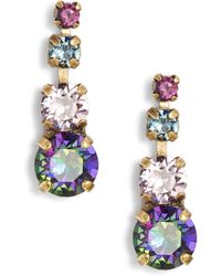 Sorrelli Descending Round Crystal Linear Earrings - Multicolor