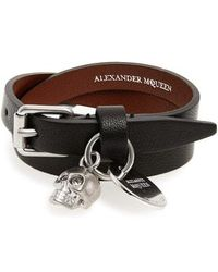 Alexander McQueen - Skull Charm Leather Wrap Bracelet - Lyst