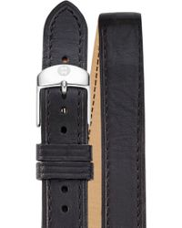 Michele - 18mm Double Wrap Leather Strap Watch - Lyst