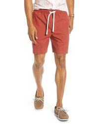 1901 Slub Elastic Waist Slim Fit Shorts - Red