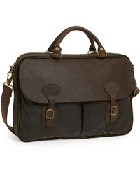 Barbour - Waxed Canvas Briefcase - Lyst