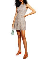 TOPSHOP Ditsy Mesh Mini Dress
