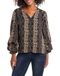 Vince Camuto Snake Print Billow Sleeve Blouse - Black