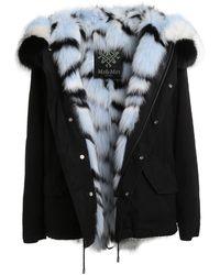 Mr & Mrs Italy Genuine Fox Fur Lined Parka - Black
