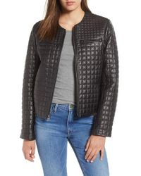 Cole Haan - Quilted Lambskin Leather Jacket - Lyst