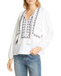 Dolan Astrid Tassel Tie Top - White