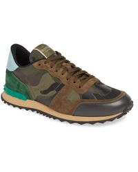 Valentino Rockrunner Camouflage Low Top Leather Sneakers - Multicolor