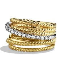 David Yurman - 'dy Crossover' Ring With Diamonds In Gold - Lyst